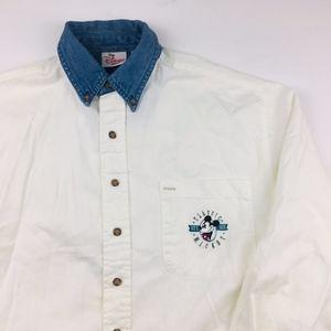 The Disney Store Button Down Shirt Denim Collar Sm